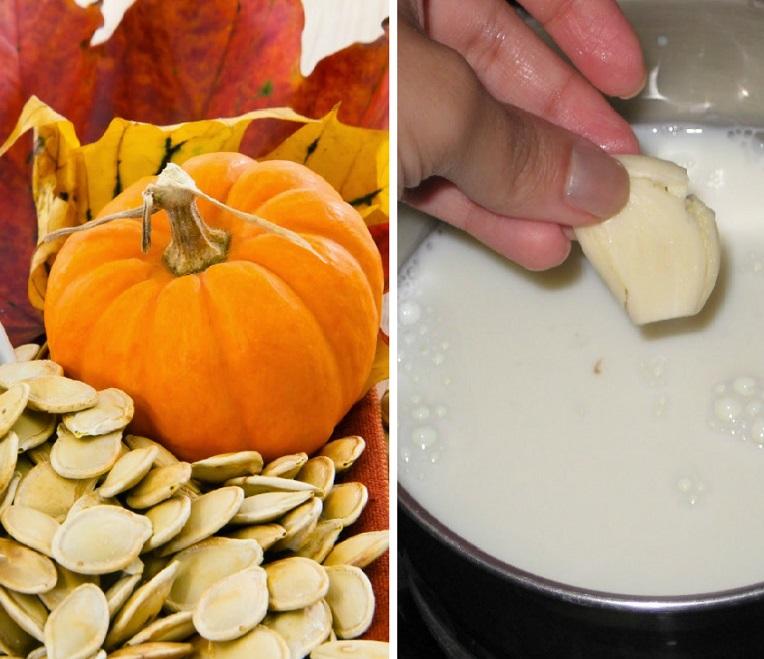 Тыквенные семечки, молоко, чеснок - средство от глистов