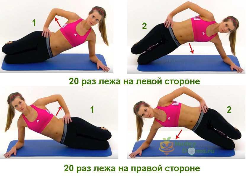 Схема упражнений для похудения живота и боков