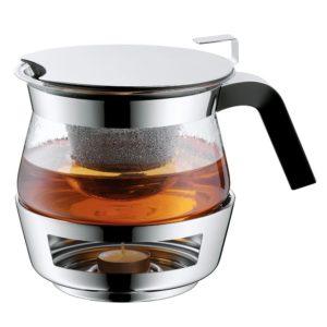 стеклянный чайник с металической подставкой