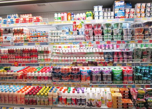 Йогурты в магазине